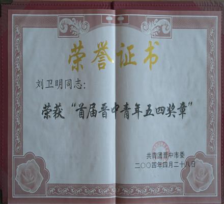 首届晋中青年五四奖章